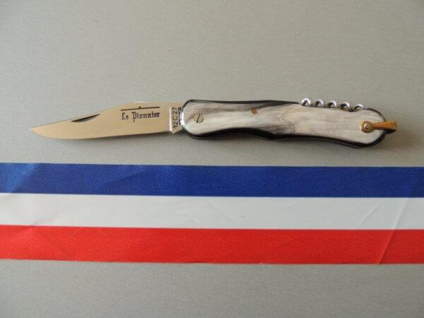 couteau pionnier 2 pièces corne grise